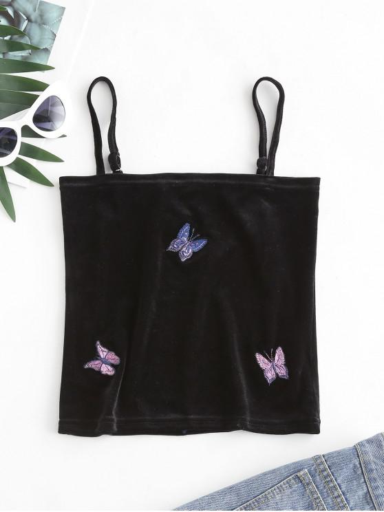 ladies Butterfly Embroidered Velvet Cami Top - BLACK L