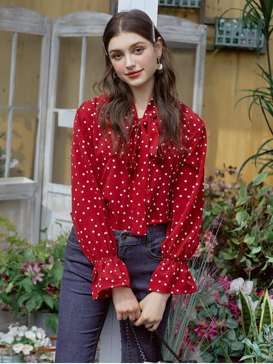 womens Polka Dot Bow Tie Ruffle Cuff Blouse - RED L