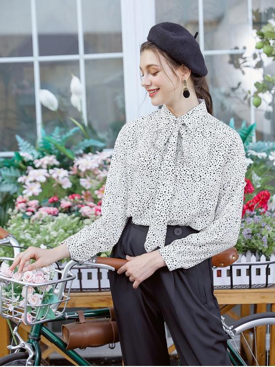 best Dalmatian Print Drop Shoulder Bow Tie Shirt - WHITE S