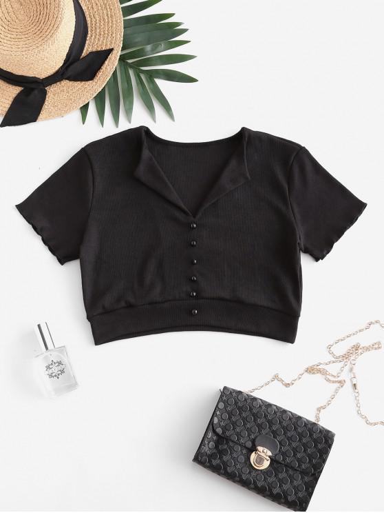 buy Ribbed Mock Button Crop T-shirt - BLACK M