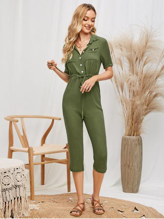 fancy Crinkly Cuffed Waist Drawstring Jumpsuit - ARMY GREEN L