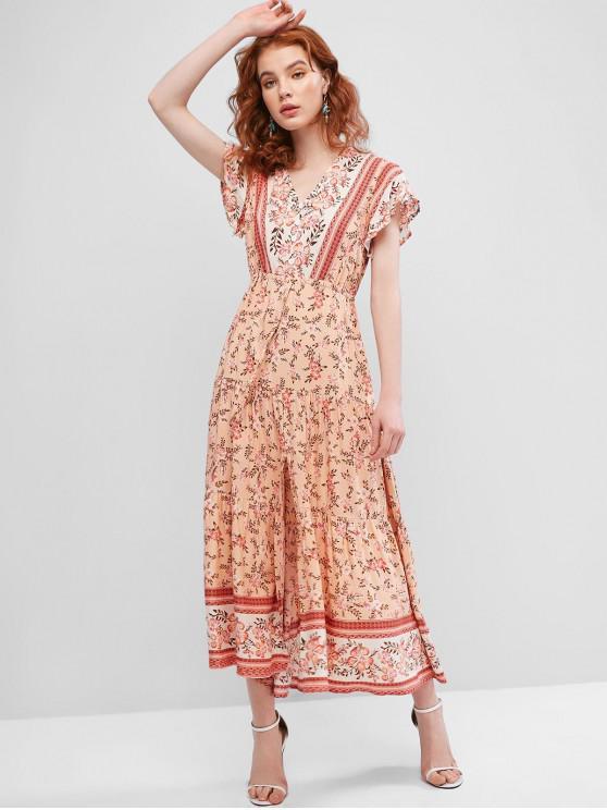 affordable Floral Print Buttons Slit Maxi Dress - MULTI S