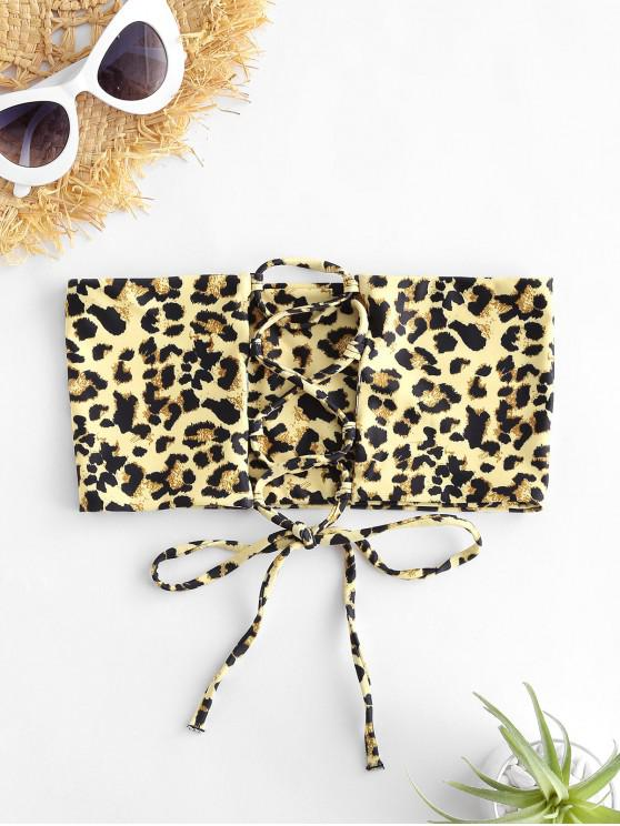 outfit ZAFUL Dalmatian Leopard Print Lace-up Bandeau Bikini Top - TAN BROWN L