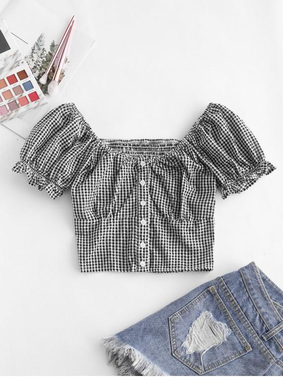 sale Gingham Smocked Button Up Ruffle Crop Blouse - BLACK S