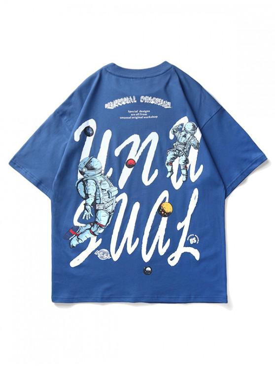 latest Astronaut Planet Letter Print Short Sleeve T-shirt - SILK BLUE XL