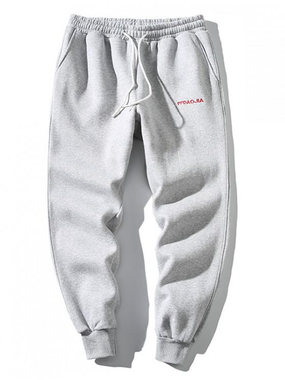 fancy Embroidery Letter Drawstring Jogger Sweatpants - LIGHT GRAY S