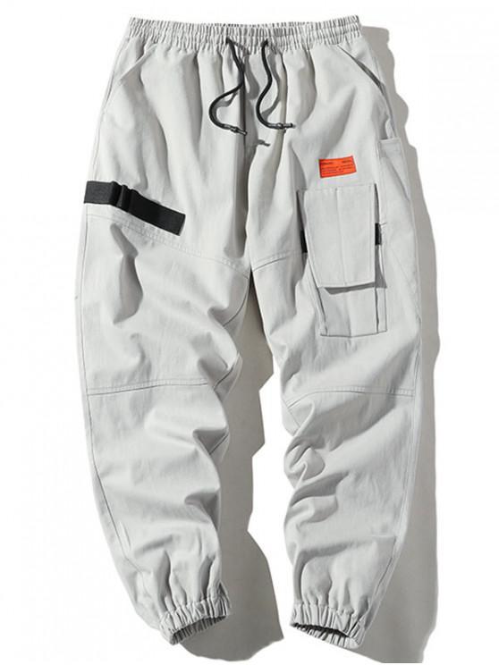 متعدد جيب زين الرباط الشحن الجيب - اللون الرمادي M