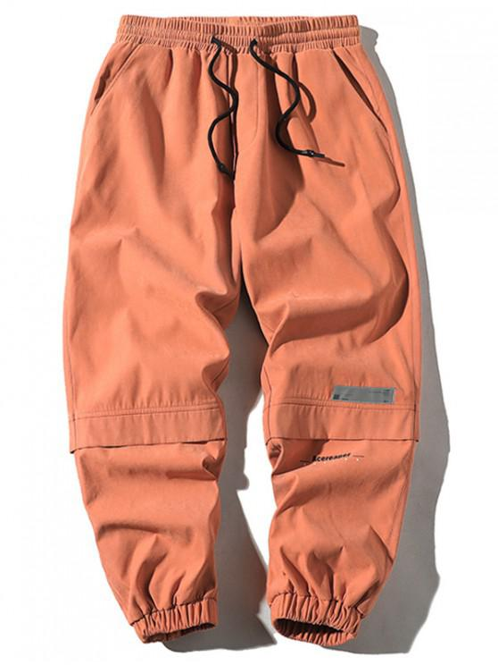 shops Letter Print Applique Drawstring Cargo Pants - ORANGE XS