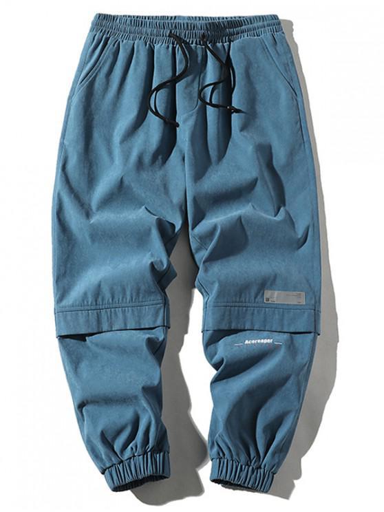 Applique Cargo Hose mit Buchstabenmuster und Tunnelzug - Denim Blau XL