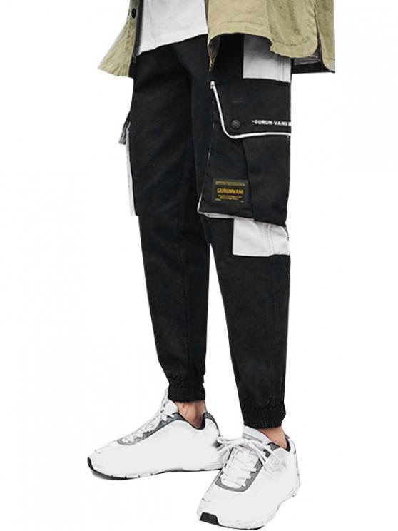 women's Graphic Pattern Pocket Design Jogger Pants - BLACK XL