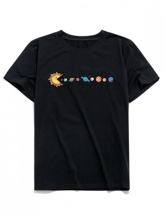 ZAFUL Planeta Impressão Curta Camiseta - Preto S