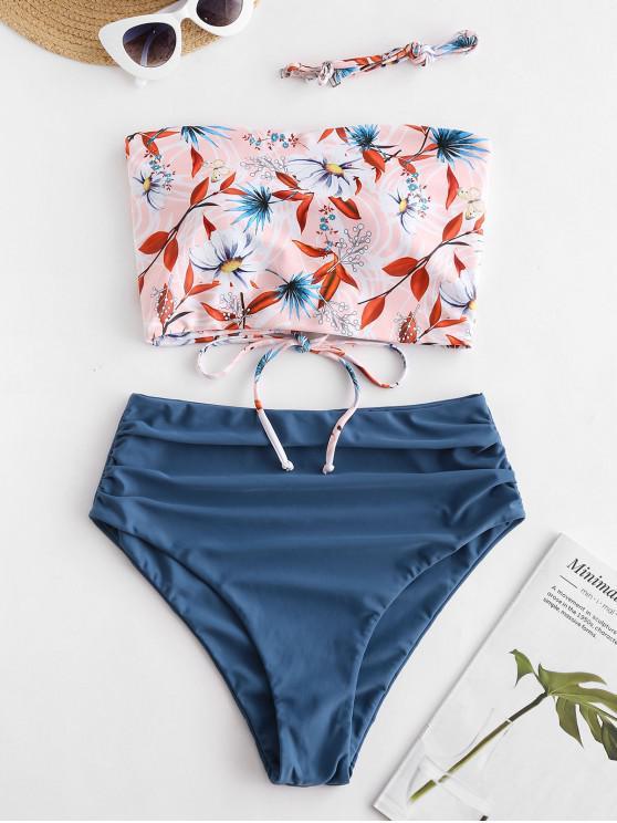 unique ZAFUL Flower Lace Up Bandeau High Cut Tankini Swimwear - BLUE 2XL
