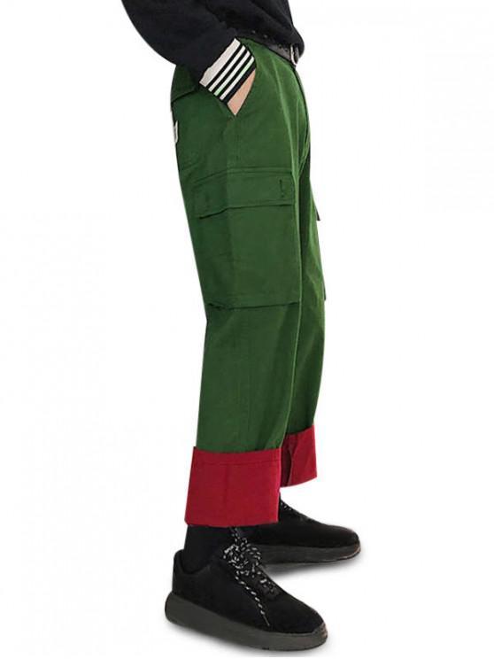 hot Color Spliced Drawstring Casual Pants - DEEP GREEN 2XL
