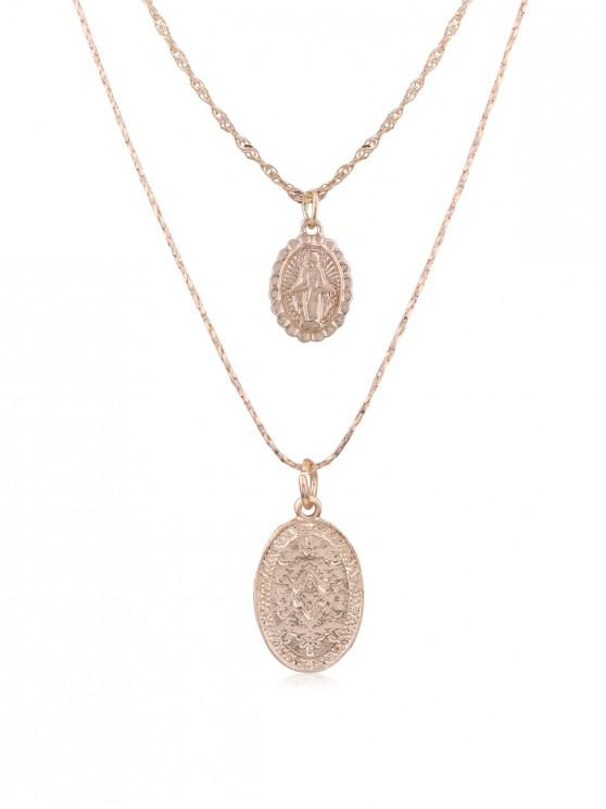 women's 2Pcs Carved Pendant Necklace Set - GOLD