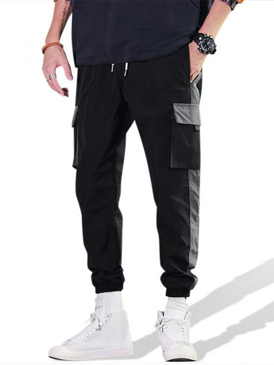 Casual Color Spliced Pocket Cargo Pants - أسود XL