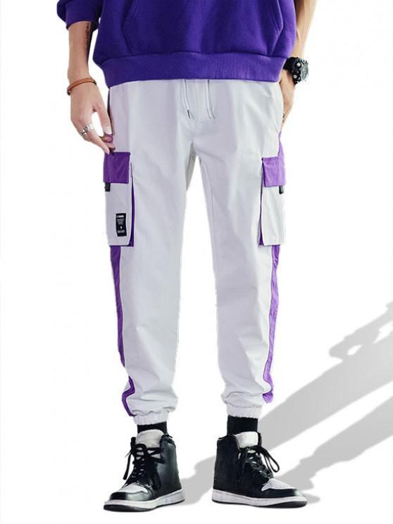 Casual Color Spliced Pocket Cargo Pants - أبيض M
