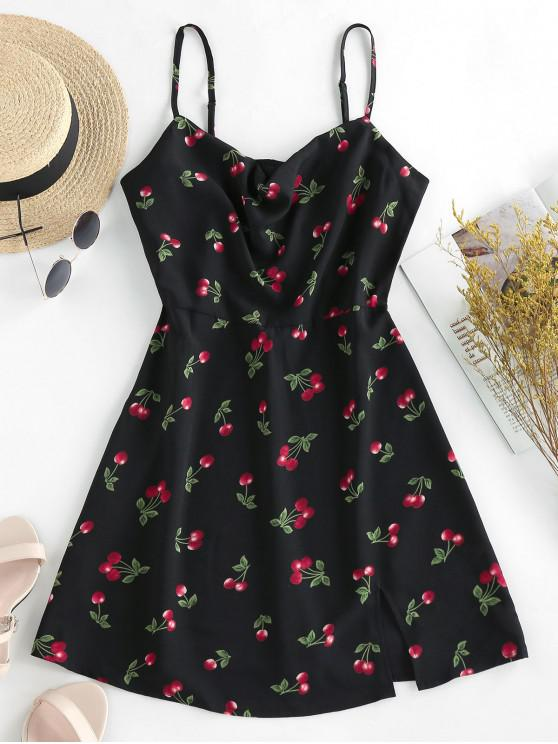 ZAFUL Cherry Print O linie Sundress - Negru M