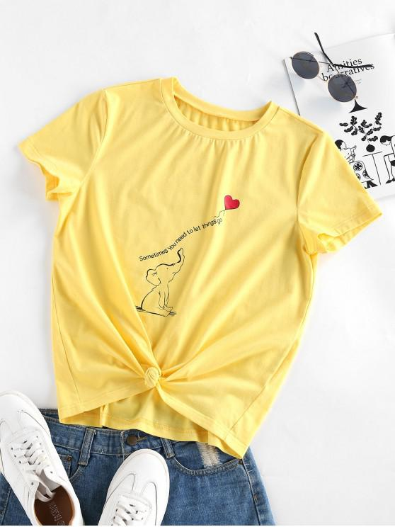 women's ZAFUL Funny Elephant Heart Print Knotted Tee - YELLOW S