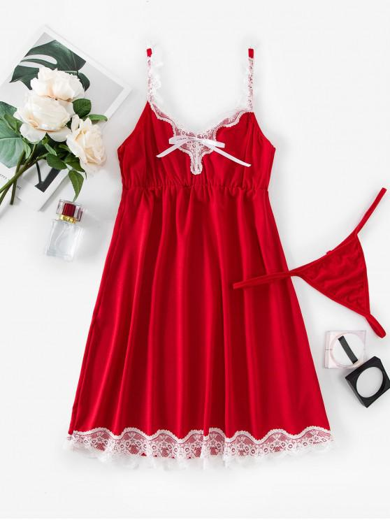 fashion Scalloped Lace Trim T Back Sleep Dress - RED L