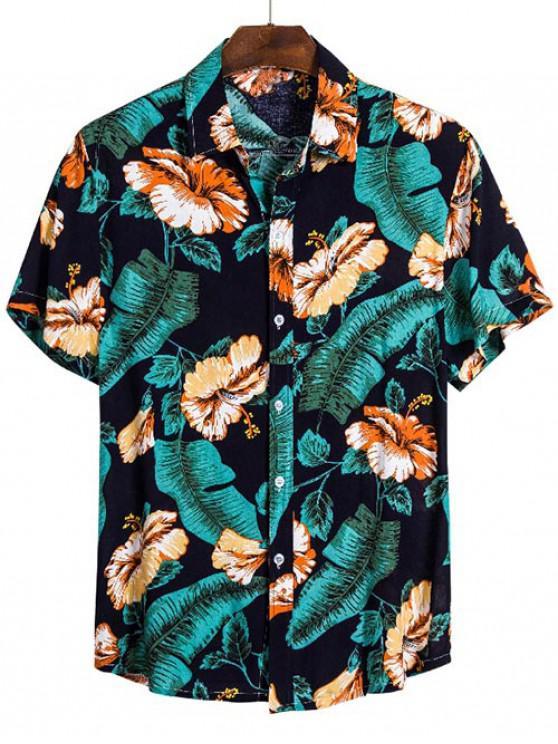 women Floral Leaves Print Beach Button Up Shirt - MULTI 3XL