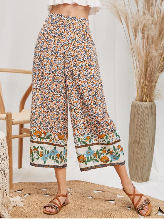 Pantalon Fleuri Taille Haute à Jambe Large - Multi-A XL