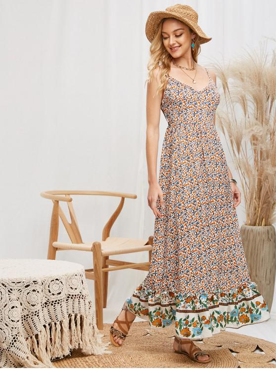 outfit Smocked Back Bohemian Ditsy Floral Cami Dress - MULTI-A M