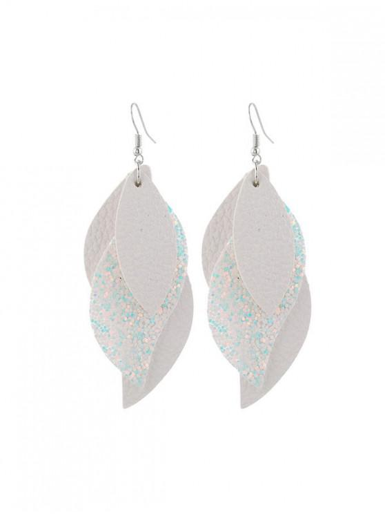 ladies Layers Glitter Leaf Shape Earrings - WHITE