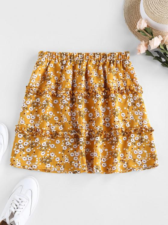 shop ZAFUL Tiered Frilled Ditsy Print Skirt - YELLOW M