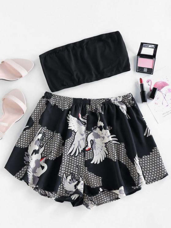 hot ZAFUL Crane Geo Print Strapless Wide Leg Shorts Set - BLACK S