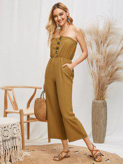 Strapless Button Placket Wide Leg Jumpsuit - Oak Brown