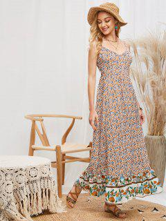 Smocked Back Bohemian Ditsy Floral Cami Dress - Multi-a M