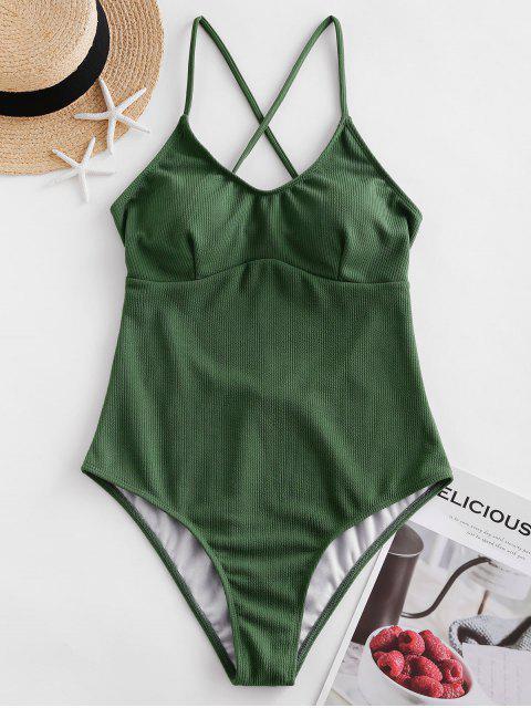 ZAFUL羅紋織構露背連體泳裝 - 淡褐綠色 M Mobile