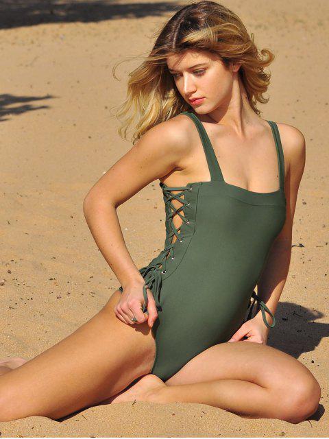 ZAFUL系帶方領連體泳衣 - 淡褐綠色 XL Mobile