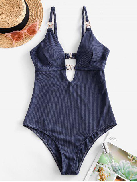 ZAFUL鏈羅紋連體泳裝 - 板岩藍色 XL Mobile