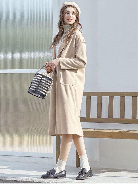 Mezcla de lana con cinturón de bolsillo de la capa del palangre - Tan XL Mobile