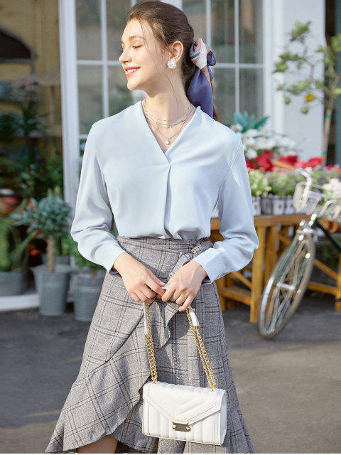 affordable Long Sleeve Work Blouse - BLUE GRAY XL Mobile