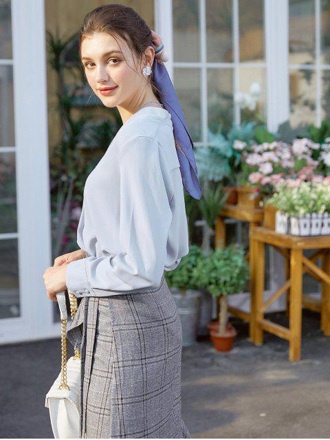 buy Long Sleeve Work Blouse - BLUE GRAY S Mobile