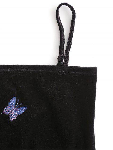 Cami Top de Terciopelo con Estampado de Mariposa - Negro L Mobile