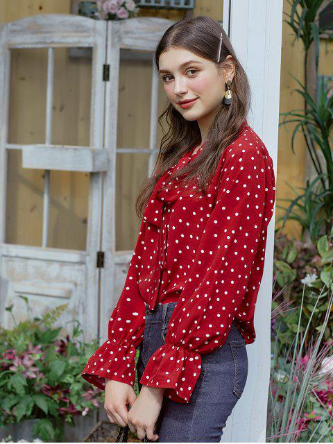 unique Polka Dot Bow Tie Ruffle Cuff Blouse - RED M Mobile