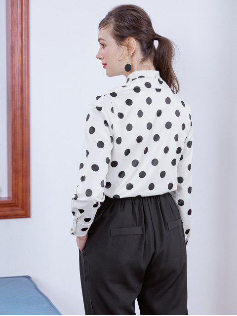 affordable Shiny Polka Dot Draped Surplice Blouse - MULTI-B XL Mobile