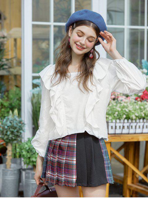 Blusa Cuello Cuadrado y Volantes - Blanco Talla única Mobile