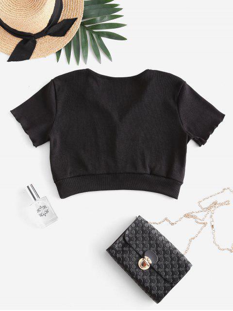 shops Ribbed Mock Button Crop T-shirt - BLACK S Mobile