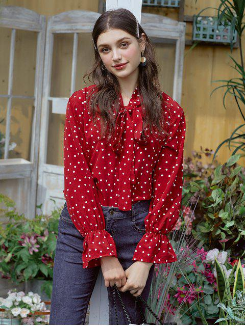 latest Polka Dot Bow Tie Ruffle Cuff Blouse - RED XL Mobile