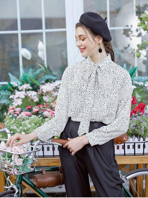 unique Dalmatian Print Drop Shoulder Bow Tie Shirt - WHITE L Mobile