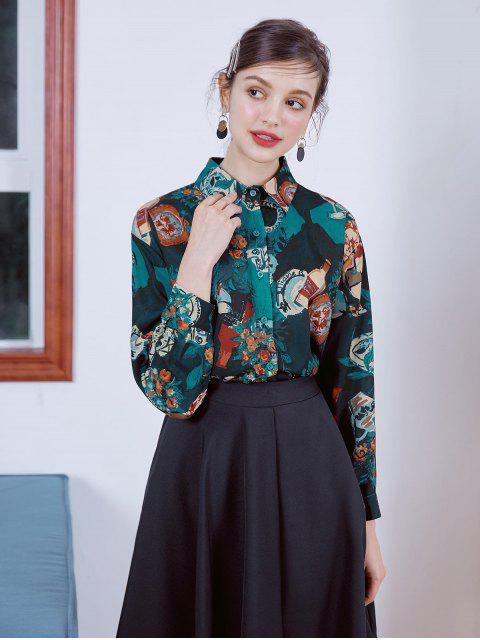 ladies Oil Painting Flower Slit Button Up Shirt - MULTI-A M Mobile