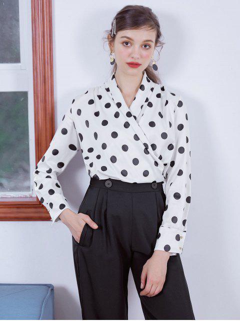 outfit Shiny Polka Dot Draped Surplice Blouse - MULTI-B L Mobile