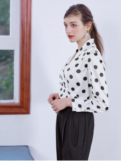 fancy Shiny Polka Dot Draped Surplice Blouse - MULTI-B M Mobile
