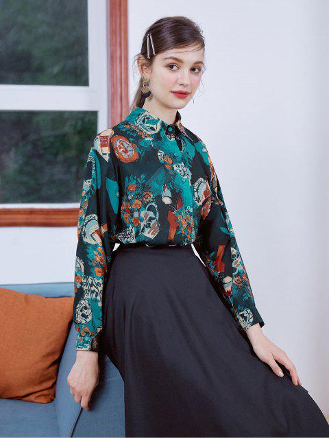 ladies Oil Painting Flower Slit Button Up Shirt - MULTI-A L Mobile