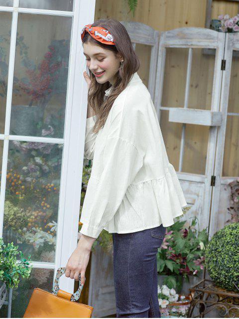 hot Button Up Drop Shoulder Peplum Shirt - WHITE L Mobile