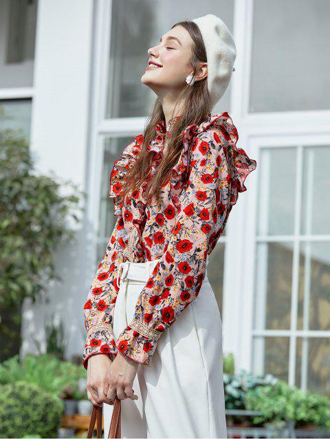 best Flower Ruffle Guipure Lace Button Up Shirt - MULTI-A ONE SIZE Mobile